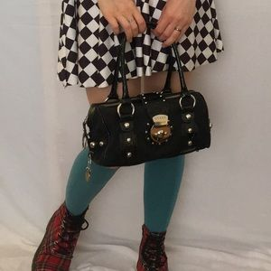 Guess Black Studded Barrel Bag / Bowler Baguette